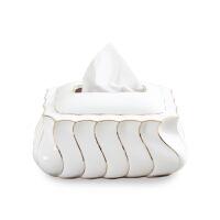 现代时尚骨瓷描金纸巾盒 欧式客厅陶瓷家居日用装饰品复古抽纸盒 海浪纸巾盒