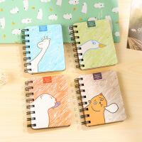 韩国文具学生侧翻线圈本 笔记本子 便携记事本卡通动物小本子