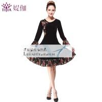 广场舞服装新款套装秋冬中老年跳舞金丝绒舞蹈服裙子拉丁舞服