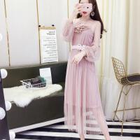2018新款女装春装吊带裙+甜美钉珠透视网纱连衣裙温柔仙女裙 超仙