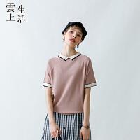 【2件8折/3件75折】云上生活2019夏新款短袖撞色套头T文艺气质T恤女T0828