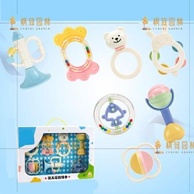 婴儿玩具摇铃新生儿0-3个月1岁宝宝6-12婴幼儿牙胶手摇铃 3207 7件(浅)