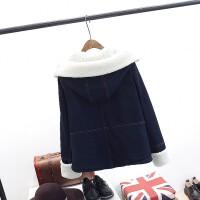 大码女装胖mm冬装新款韩版显瘦连帽牛仔羊羔绒棉衣Z260 图色