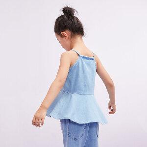 【尾品汇 5折直降】amii童装2017夏季女童吊带背心中大童荷叶边下摆休闲牛仔上衣
