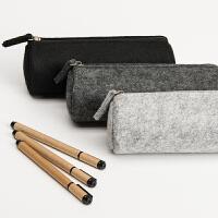 毛毡创意笔袋 韩国多功能简约大容量学生文具笔袋男包邮学习用品