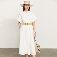 Amii极简法式优雅配腰带连衣裙2021年夏新款泡泡袖显瘦白色裙子女