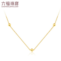 六福珠宝几何小珠18K金项链百搭项链定价B01TBKN0003Y