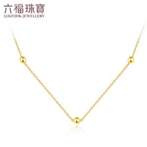六福珠宝几何小珠18K金项链百搭套链定价B01TBKN0003Y