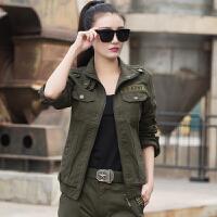 春秋装新款女装韩版迷彩修身长袖短外套女士立领休闲夹克女潮