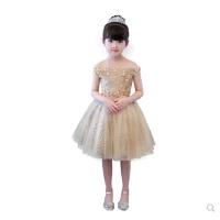 女童公主裙蓬蓬裙一字肩儿童走秀礼服钢琴演出服生日主持人晚礼服