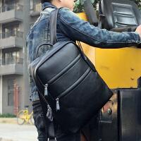 香港潮牌休闲双肩包男士背包电脑包学院风韩版学生书包真皮旅行包 黑色