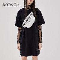 MOCO秋季新品棉宽松潮印花中长款T恤裙MA183TEE201 摩安珂