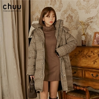 chuu羽绒服女中长款白鸭绒加厚2019冬新款韩版显瘦小个子格子外套