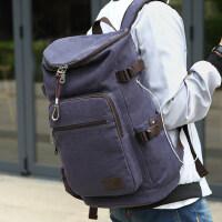 双肩背包男士韩版休闲时尚潮流学生帆布书包大容量水桶包复古旅行 支持礼品卡支付