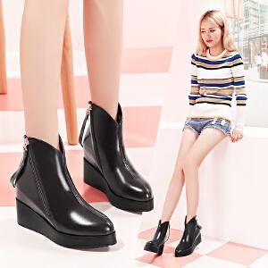 【毅雅】秋冬季新款女靴侧拉链尖头内增高短靴真皮YM6PR6178