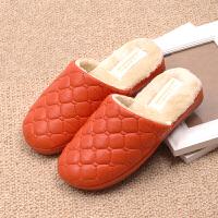 秋冬季新款情侣款防水PU皮棉拖鞋 女士居家日用室内防滑保暖棉拖鞋