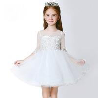 儿童礼服 女童蓬蓬裙长袖蕾丝裙 公主裙演出服夏 白色