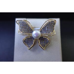淡水珍珠镶钻蝴蝶造型胸针