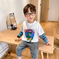 【2件5折到手价:59元】左西男童长袖T恤春秋儿童恐龙假两件纯棉上衣中大童男孩2021新款