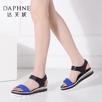 Daphne/达芙妮女鞋夏季厚底松糕运动风平底女凉鞋