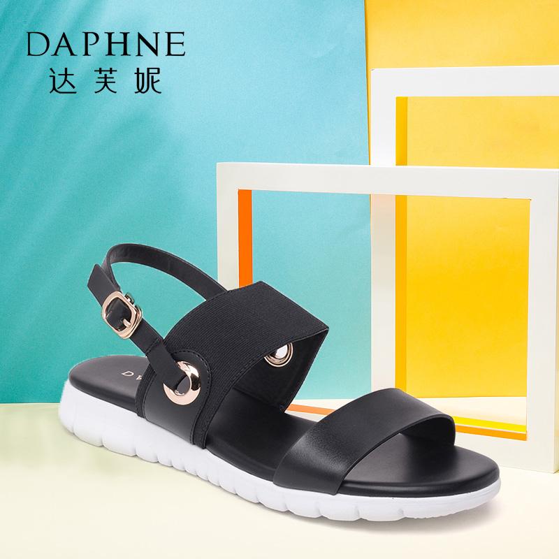 Daphne/达芙妮夏季款女鞋日常平底搭扣松紧布凉鞋