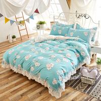 北欧风简约ins床上四件套纯棉床单被罩 全棉 特价女童 公主风田园风格