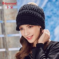 kenmont冬天帽子女韩版兔毛球毛线帽针织帽秋冬保暖贝雷帽鸭舌帽1729