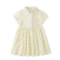 女童小清新印花连衣裙童装儿童学院风短袖裙宝宝夏季裙子