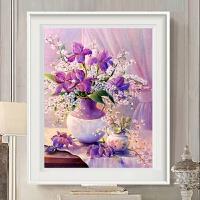 印花十字绣新款客厅简约现代线绣卧室欧式花卉百合花瓶小幅餐厅画