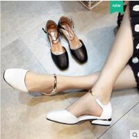 包头凉鞋女百搭仙女鞋高跟粗跟中空单鞋中跟一字扣方头奶奶鞋