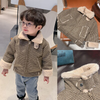 棉小班男童冬装外套新款儿童一体绒上衣宝宝保暖