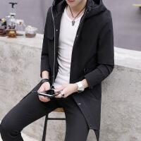 秋冬款男士带帽风衣中长款青年大衣韩版外套夹克