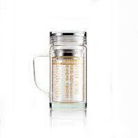 准提咒水晶杯如意宝镜尊杯双层隔热防烫茶杯耐热玻璃经文杯圣水杯 双层把杯 金色字【透明盖】
