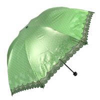 天堂伞正品33264e似水柔情折叠黑胶绣花铅笔太阳伞晴雨