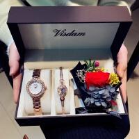 情人节礼物送女友生日礼物女生闺蜜友情特别实用浪漫韩国创意新奇 永生花 玫瑰金套装