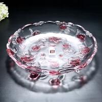 大号欧式水晶玻璃果盘创意现代简约加厚茶几厨房客厅婚庆水晶果盘 大盘粉红色 送叉子2只