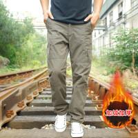 秋冬季户外休闲工装长裤男士宽松加绒棉裤加厚多口袋裤青年运动裤