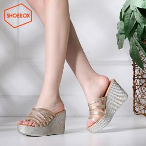 达芙妮旗下SHOEBOX/鞋柜夏季韩版时尚坡跟凉鞋套脚网纱高跟鞋女鞋