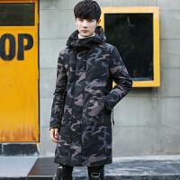 新款羽绒服男中长款韩版修身迷彩连帽加厚青年男士冬装外套潮