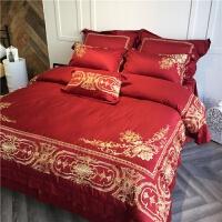 欧式刺绣新婚床品纯棉绣花四件套结婚庆红色1.8m2.0m床上用品