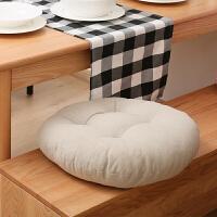 棉麻加厚色坐垫椅垫飘窗圆垫子地板蒲团日式打坐靠垫功夫茶坐垫J 乳白色 米色 直径45cm