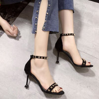 一字带铆钉细高跟女士凉鞋户外时尚百搭仙女风配裙子的鞋