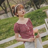 一字领泡泡袖雪纺衫2020年夏季新款女装碎花韩版宽松森系上衣小衫
