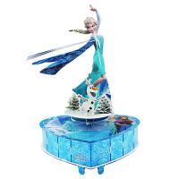 儿童3D立体拼图迪士尼冰雪奇缘旋转八音盒 女生新年礼物DIY音乐盒