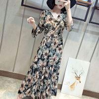18春装新款向日花朵修身版雪纺松紧腰度假沙滩裙拼接长裙