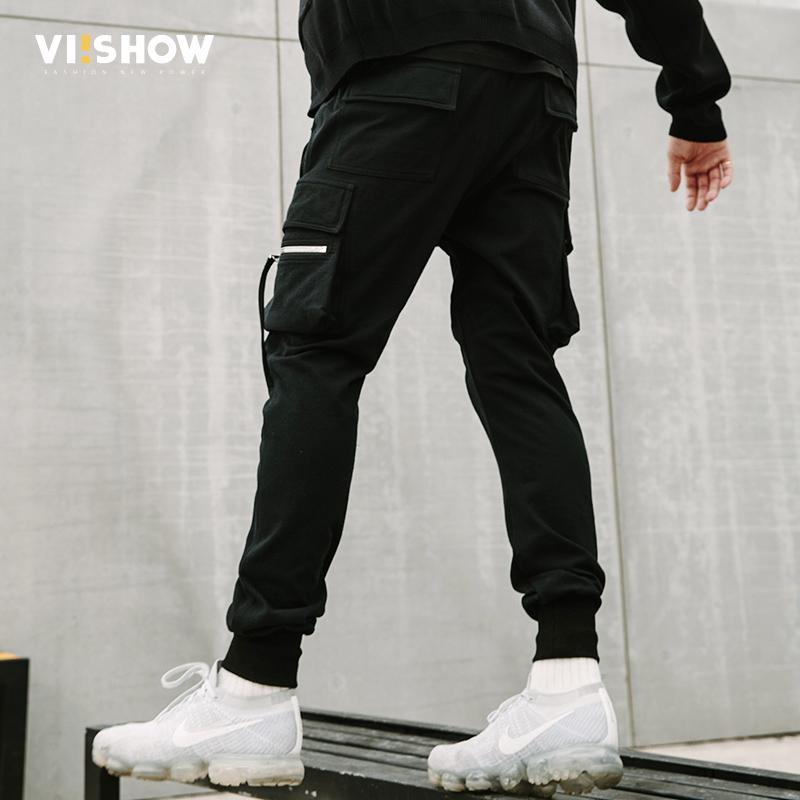 VIISHOW休闲裤男2018春季新款工装裤子男士下装休闲束脚裤潮牌