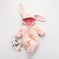 女婴儿连体衣服秋冬季0岁3个月男宝宝5冬装衣服加厚新生儿外出服