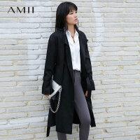 Amii极简Ins火高街帅气棉质风衣女2019秋装绑带配腰带中长款外套