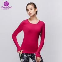 秋冬季新款瑜伽长袖上衣 紧身性感带胸垫速干瑜伽服