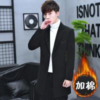 男士毛妮大衣青年韩版修身中长款翻领妮子外套冬季加厚长款外套男